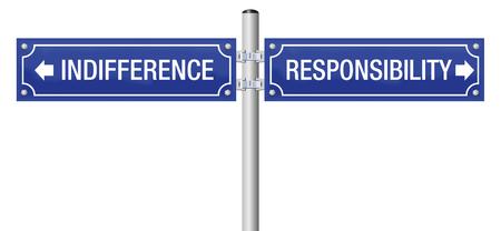 Indiferencia o responsabilidad. Cartel callejero para decidir por ignorancia y duda o por moral, deber, integridad, confianza, obligación, ética y responsabilidad social.