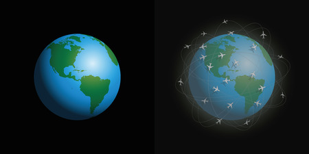 Air pollution by airplanes and their contrails, our environmental future trouble. Clean and dirty planet earth with polluted atmosphere in comparison. Before and after comparison. Vector illustration.