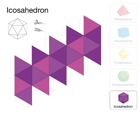 Icosahedron platonic solid template. Paper model of a icosahedron, one of five platonic solids, to make a three-dimensional handicraft work out of the pink triangle net. Çizim