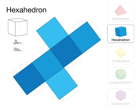 Hexahedron platonic solid template. Paper model of a cube, one of five platonic solids, to make a three-dimensional handicraft work out of the blue square net. Çizim
