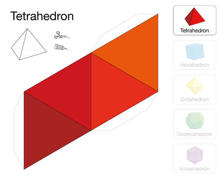Tetrahedron platonic solid template. Paper model of a tetrahedron, one of five platonic solids, to make a three-dimensional handicraft work out of the red triangle net. Çizim