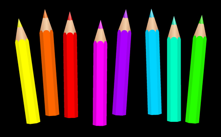 Baby crayons. Neon colored fluorescent short pencils loosely arranged - vibrant vector illustration on black background.