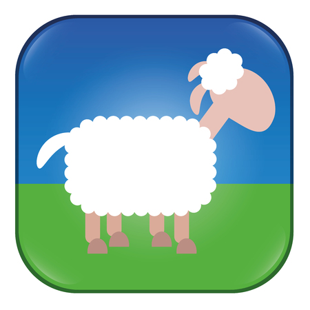Sheep App. Application for counting sheep, as snooze button, for bleating or any similar matter. Comic illustration of a white sheep. Illustration