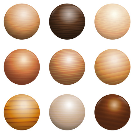 Wood types. Set of nine polished, varnished, textured decor balls - brown, dark, gray, light, red or yellow models with reflections of light. Isolated vector illustration on white background.