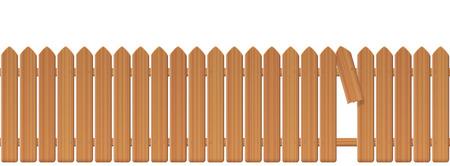 Valla de estacas de madera con hueco en la valla. Empalizada o empalizada con tablones rotos y una laguna para deslizarse, escapar, disparar, huir, liberarse, huir, despegar, escabullirse, escabullirse. Ilustración.