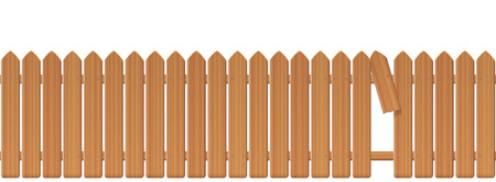 Wooden picket fence with gap in the fence. Palisade or stockade with broken plank and loophole to slip through, escape, bolt, run away, break free, flee, take off, slip away, sidle off. Illustration.