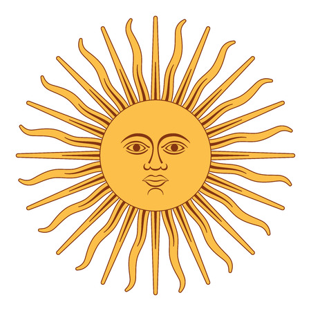 Sun of May, Spanish Sol de Mayo, a national emblem of Argentina on the country flag. Radiant golden yellow sun with a face and sixteen straight and sixteen wavy rays. Illustration over white. Vector.  イラスト・ベクター素材