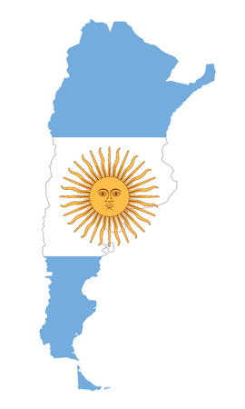 National flag of Argentina with Sun of May in country silhouette. Argentinian triband of horizontal bands in blue and white, above all the national emblem Sol de Mayo. Illustration over white. Vector. Stock Illustratie