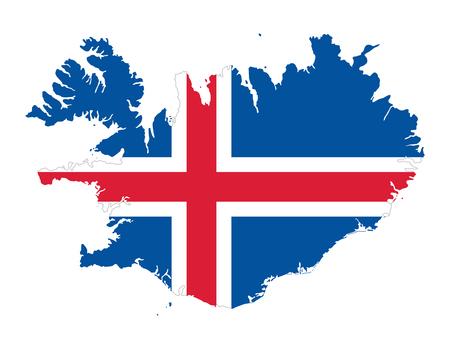 Vlag van IJsland in het silhouet van het land. Blauw veld met wit omrand rood Noords kruis. Overzicht van IJsland, een Noords eilandland in de noordelijke Atlantische Oceaan. Geïsoleerde illustratie over wit. Vector.