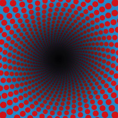 Motif en spirale de points rouges dans un tunnel bleu avec centre noir - hypnotique, vibrant, psychédélique, vrombissant, pulsant - illustration de fond fractale circulaire tordue. Vecteurs