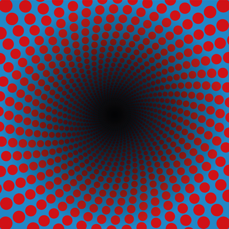 Spiral pattern of red dots in a blue tunnel with black center - hypnotic, vibrant, psychedelic, whirring, pulsating - twisted circular fractal background illustration.