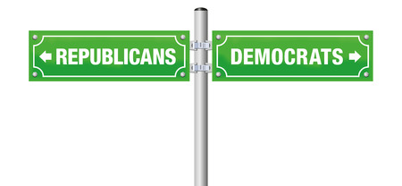 REPUBLICANS or DEMOCRATS, written on street signs to choose ones favorite party, government, politics, ideology - isolated vector illustration on white background.