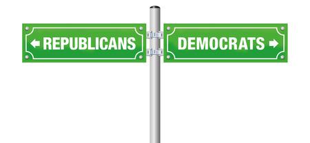 Les républicains ou les démocrates, écrits sur les panneaux de signalisation pour choisir leur parti préféré, gouvernement, politique, idéologie - illustration vectorielle isolé sur fond blanc. Vecteurs