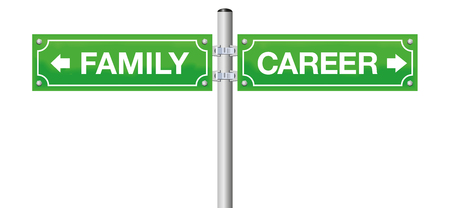 FAMILY or CAREER, written on street signs - go for being mother or father or go for business, job, success - isolated vector illustration on white background.