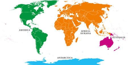 Four continents. World map with national borders. America, Africa-Eurasia, Australia and Antarctica. Political map under Robinson projection. English labeling. Isolated on white background. Vector.