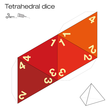 Tetrahedron template, four sided tetrahedral dice - one of the five platonic solids - make a 3d item with out of the net and play dice. Illustration on white background. Illustration