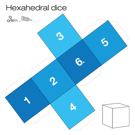 Hexahedron template, hexahedral dice - one of the five platonic solids - make a 3d item with six sides out of the net and play dice. Illustration on white background.