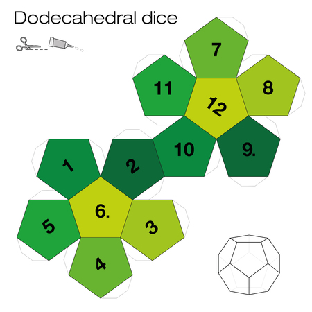 Dodecahedron template, dodecahedral dice - one of the five platonic solids - make a 3d item with twelve sides out of the net and play dice. Illustration on white background. Illustration