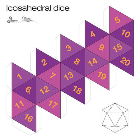 Icosahedron template, icosahedral dice - one of the five platonic solids - make a 3d item with twenty sides out of the net and play dice. Illustration on white background.
