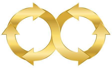 Infinity symbol, golden arrow circuit. Illustration on white background.