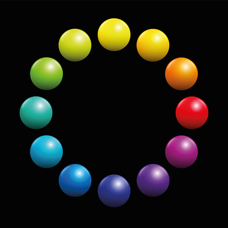 Color spectrum circle formed by twelve rainbow colored balls. Illustration on black background.