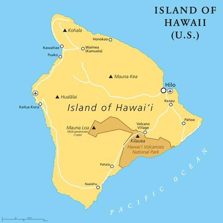 Isla de Hawaii, mapa político. Isla más grande ubicada en el estado estadounidense de Hawai en el Océano Pacífico Norte. También se llama Big Island, Big I o Hawaii Island. Etiquetado en inglés. Ilustración. Vector