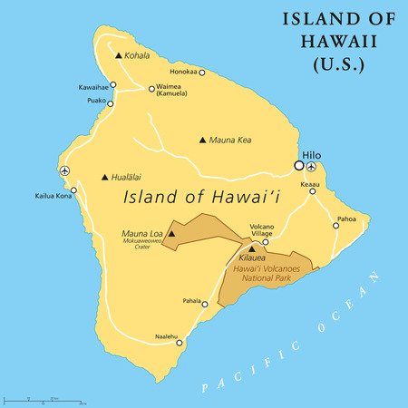Island of Hawaii, political map. Largest island located in the U. S. state of Hawaii in the North Pacific Ocean. Also called Big Island, Big I or Hawaii Island. English labeling. Illustration. Vector Illustration