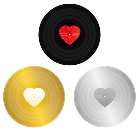 Love songs records - black, gold and silver record with unlabeled heart shaped center to be labeled for award or certification. Symbol for golden hits, gold beaters, old love songs.