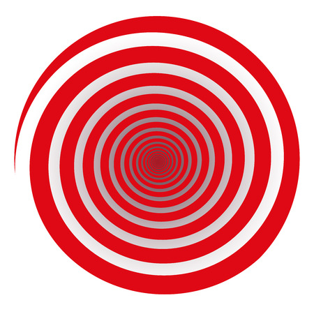 Red spiral. Isolated vector illustration on white background.