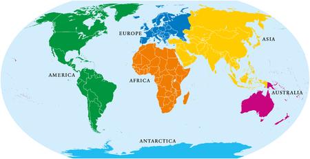 Sei continenti del mondo, mappa politica. America, Africa, Antartide, Asia, Australia ed Europa, con coste e confini. Proiezione di Robinson. Etichettatura inglese. Isolato su sfondo bianco. Vettore.