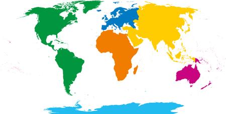 Sześć kontynentów, mapa świata. Afryka, Ameryka, Antarktyda, Azja, Australia i Europa. Zarys i kolorowe kształty. Projekcja Robinsona. Pojedynczo na białym tle. Wektor.