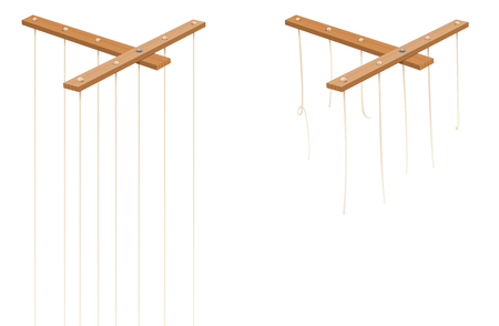 Marionette control bar with intact and broken strings. Torn cords as a symbol for freedom, independence, autonomy, liberty, detachment, release or escape. Isolated vector on white.  イラスト・ベクター素材