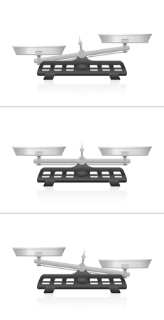 Weighing scales. Equal and unequal weightiness, two pans in balance and imbalance, Isolated vector illustration on white background.