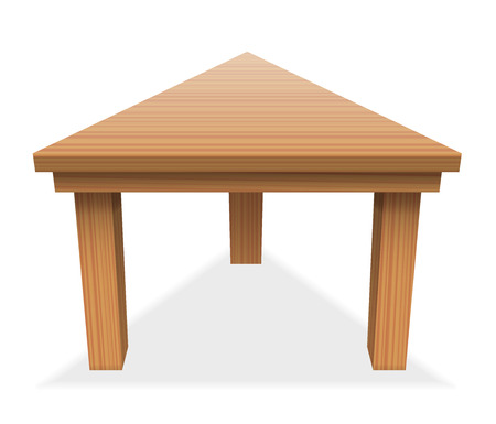Triangular table - perspective view from above of wooden tabletop - isolated vector illustration on white background. Illustration