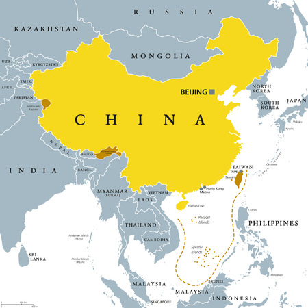 Peoples Republic of China, PRC, gray political map. Area controlled by China in yellow color, and claimed but uncontrolled regions shown in brown. English labeling. Illustration over white. Vector. 写真素材 - 105480658