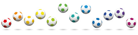 Soccer balls loosely arranged. Rainbow colored jumping soccer ball set, twelve different colors. Isolated vector illustration on white background. Illustration