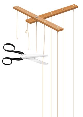 Las tijeras cortan los hilos de la barra de control de marionetas. Cordones cortados como símbolo de libertad, independencia, emancipación, liberación, liberación, desapego, liberación o escape. Vector aislado en blanco. Ilustración de vector