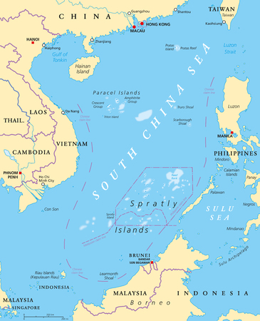 South China Sea Islands, political map. Islands, atolls, cays, shoals, reefs and sandbars. Partially claimed by China and other neighboring states. Paracel and Spratly Islands. Illustration. Vector. Çizim