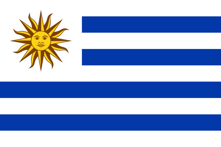 National flag of Uruguay with Sun of May on a white canton and nine horizontal stripes, alternating white and blue. Sol de Mayo, a national emblem of Uruguay on the country flag. Illustration. Vector.