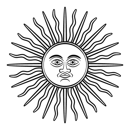 Sun of May, Sol de Mayo, symbol, appearing on early Argentine silver coins. National emblem of Argentina and Uruguay on their country flags. Sun with face and sunbeams. Illustration over white. Vector