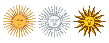 Sun of May variations. Spanish Sol de Mayo, national emblems of Uruguay and Argentina. Radiant, silver or golden yellow sun with human face and straight and wavy rays. Illustration over white. Vector.
