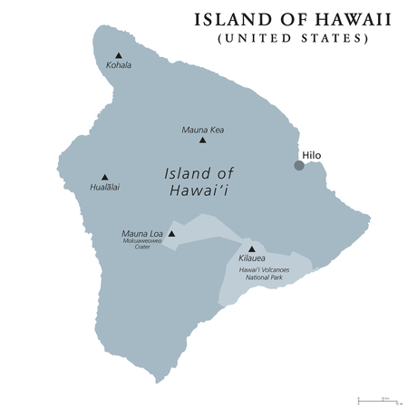 Island of Hawaii, gray colored political map. Largest island in the U.S. State of Hawaii in the North Pacific Ocean. Big Island, Big I, Hawaii Island. English labeling. Illustration over white. Vector