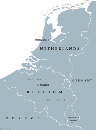 Benelux countries, gray colored political map. Belgium, Netherlands and Luxembourg. Benelux Union, a geographic, economic and cultural group. English labeling. Illustration on white background. Vector Stock Illustratie
