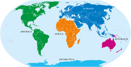 Five continents world, political map. Africa, America, Antarctica, Australia and Eurasia, with shorelines and borders. Robinson projection. English labeling. Isolated on white background. Vector.