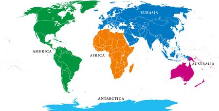 Cinq continents, carte du monde politique, avec des frontières. Afrique, Amérique, Antarctique, Asie, Australie et Europe. Projection de Robinson. Étiquetage en anglais. Illustration isolée sur fond blanc. Vecteur.
