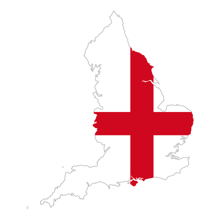 Flag of England in country silhouette. A red St George's Cross on a white field. Country and part of United Kingdom and island Great Britain, Europe. Isolated illustration on white background. Vector.