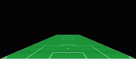 Soccer field. Goalkeepers extensive perspective view. Green pitch, sports turf. Vector illustration on black background. Ilustrace