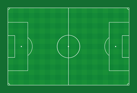 Soccer field. Green pitch with white lines and check pattern sports turf. Vector illustration on green background. Standard-Bild - 103519010