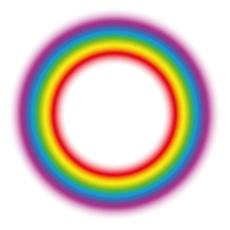 Illuminating rainbow gradient aura ring. Subtle body circle. Vector illustration on white background.