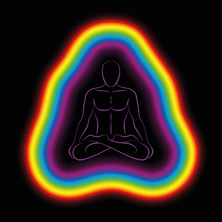 Meditating man in yoga position with colorful aura or subtle body. Isolated vector illustration on black background. Vettoriali